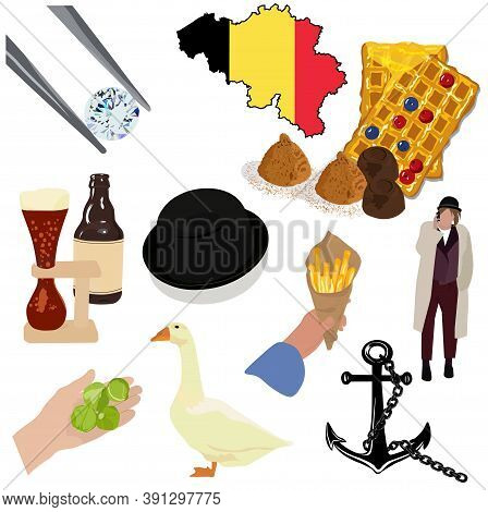 Belgium Set Of Attractions. Traditional Symbols Of Brussels. Belgian Waffles, Ale, Glass Edges, Choc