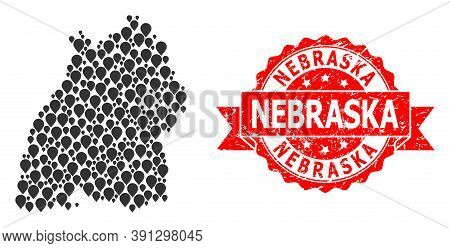 Pinpoint Mosaic Map Of Baden-wurttemberg State And Grunge Ribbon Seal. Red Seal Has Nebraska Text In