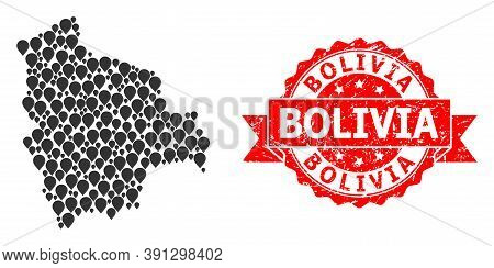 Pointer Mosaic Map Of Bolivia And Grunge Ribbon Stamp. Red Stamp Includes Bolivia Title Inside Ribbo