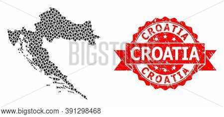 Target Collage Map Of Croatia And Grunge Ribbon Seal. Red Seal Includes Croatia Tag Inside Ribbon. A