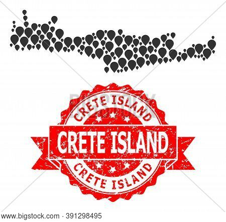Pinpoint Collage Map Of Crete Island And Scratched Ribbon Seal. Red Stamp Seal Includes Crete Island