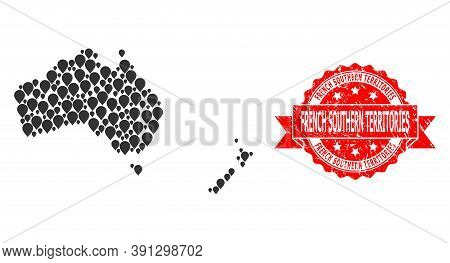 Pin Mosaic Map Of Australia And New Zealand And Grunge Ribbon Stamp. Red Stamp Seal Contains French