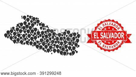 Marker Collage Map Of El Salvador And Scratched Ribbon Stamp. Red Stamp Seal Contains El Salvador Ta