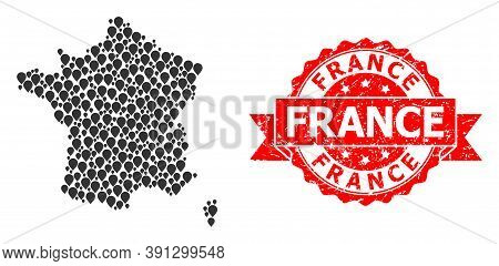 Pointer Mosaic Map Of France And Scratched Ribbon Seal. Red Stamp Seal Includes France Tag Inside Ri