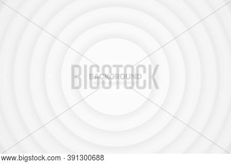 3d Vector Circles Minimalist White Abstract Background Blurred Effect. Futuristic Technology Light W