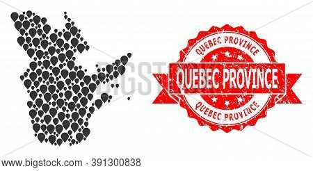 Mark Mosaic Map Of Quebec Province And Scratched Ribbon Stamp. Red Stamp Seal Includes Quebec Provin