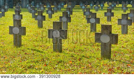 Graz, Austria-october 20, 2020: Old Military Stone Crosses From World Wars In The Central Cemetery I