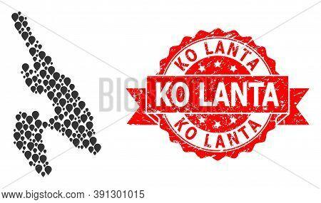 Target Mosaic Map Of Koh Phi Don And Grunge Ribbon Seal. Red Seal Includes Ko Lanta Text Inside Ribb