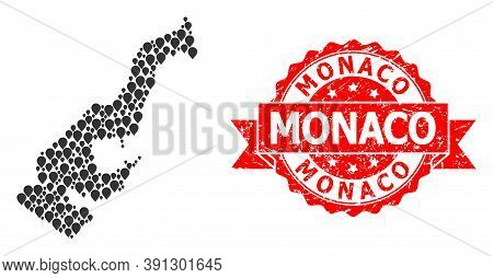 Pinpoint Collage Map Of Monaco And Scratched Ribbon Watermark. Red Stamp Seal Includes Monaco Tag In