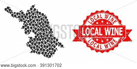 Pointer Mosaic Map Of Jiangsu Province And Grunge Ribbon Stamp. Red Stamp Contains Local Wine Tag In