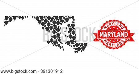 Mark Mosaic Map Of Maryland State And Grunge Ribbon Seal. Red Stamp Seal Contains Maryland Title Ins