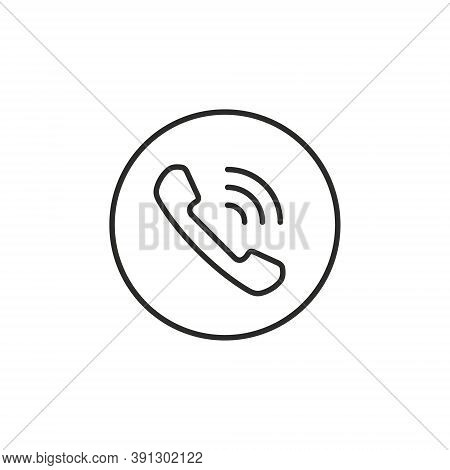 Telephone Receiver Button Icon, Vector Handset Phone Call Symbol Isolated On White Background.