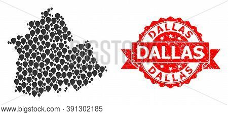 Pin Mosaic Map Of Sevilla Province And Scratched Ribbon Stamp. Red Stamp Seal Has Dallas Caption Ins