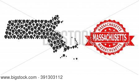 Mark Mosaic Map Of Massachusetts State And Scratched Ribbon Watermark. Red Stamp Contains Massachuse