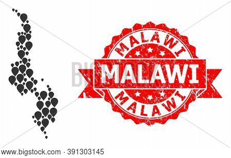 Pinpoint Collage Map Of Malawi And Scratched Ribbon Stamp. Red Seal Has Malawi Text Inside Ribbon. A