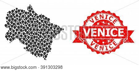 Target Collage Map Of Uttarakhand State And Grunge Ribbon Stamp. Red Stamp Seal Includes Venice Tag