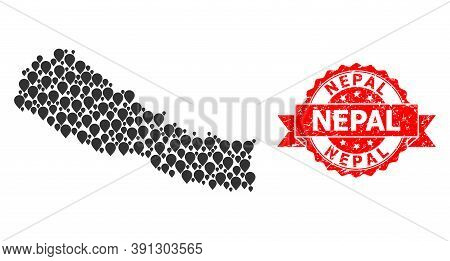 Pointer Mosaic Map Of Nepal And Grunge Ribbon Seal. Red Seal Contains Nepal Tag Inside Ribbon. Abstr