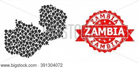 Mark Mosaic Map Of Zambia And Scratched Ribbon Seal. Red Seal Includes Zambia Text Inside Ribbon. Ab