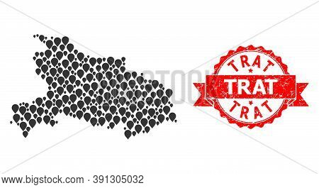Pin Mosaic Map Of Hubei Province And Grunge Ribbon Seal. Red Stamp Seal Has Trat Text Inside Ribbon.