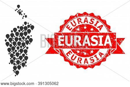 Marker Collage Map Of Krasnoyarskiy Kray And Grunge Ribbon Watermark. Red Seal Includes Eurasia Text