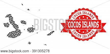 Pin Collage Map Of Galapagos Islands And Scratched Ribbon Seal. Red Stamp Seal Has Cocos Islands Tit