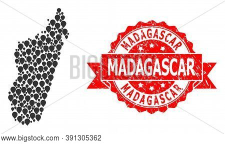 Pinpoint Collage Map Of Madagascar Island And Scratched Ribbon Watermark. Red Stamp Includes Madagas
