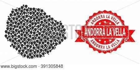 Pinpoint Mosaic Map Of La Gomera Island And Grunge Ribbon Seal. Red Stamp Seal Contains Andorra La V