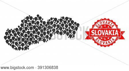 Pinpoint Mosaic Map Of Slovakia And Scratched Ribbon Seal. Red Seal Has Slovakia Title Inside Ribbon