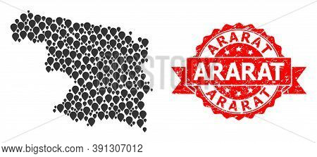 Pinpoint Mosaic Map Of Zamora Province And Grunge Ribbon Stamp. Red Stamp Has Ararat Tag Inside Ribb