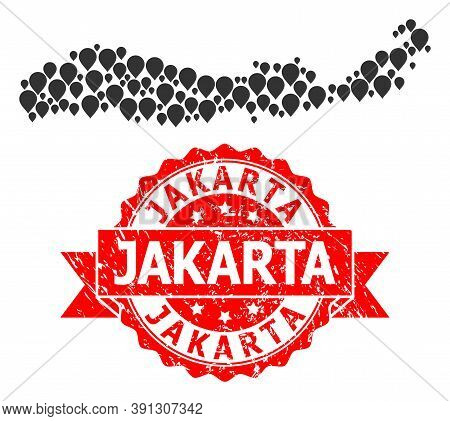 Target Collage Map Of Indonesia - Flores Island And Grunge Ribbon Stamp. Red Stamp Has Jakarta Text