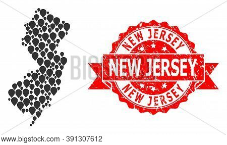 Mark Mosaic Map Of New Jersey State And Scratched Ribbon Seal. Red Stamp Seal Contains New Jersey Ta
