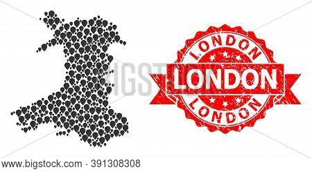 Marker Mosaic Map Of Wales And Grunge Ribbon Seal. Red Stamp Seal Includes London Caption Inside Rib