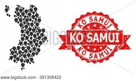 Marker Mosaic Map Of Ko Tao And Grunge Ribbon Seal. Red Seal Includes Ko Samui Caption Inside Ribbon
