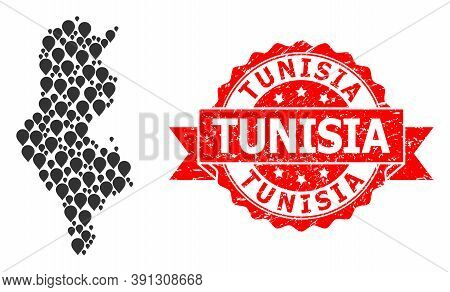Pin Mosaic Map Of Tunisia And Grunge Ribbon Stamp. Red Stamp Seal Includes Tunisia Tag Inside Ribbon