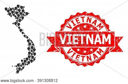 Pin Collage Map Of Vietnam And Scratched Ribbon Seal. Red Seal Includes Vietnam Tag Inside Ribbon. A
