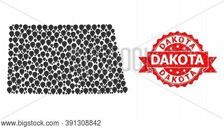 Pinpoint Mosaic Map Of North Dakota State And Grunge Ribbon Stamp. Red Stamp Has Dakota Tag Inside R