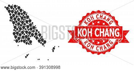 Pointer Collage Map Of Koh Chang And Scratched Ribbon Stamp. Red Stamp Seal Includes Koh Chang Text