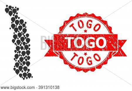 Mark Mosaic Map Of Togo And Grunge Ribbon Seal. Red Seal Contains Togo Text Inside Ribbon. Abstract