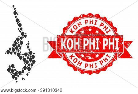 Pinpoint Mosaic Map Of Koh Phi Leh And Scratched Ribbon Seal. Red Stamp Seal Contains Koh Phi Title