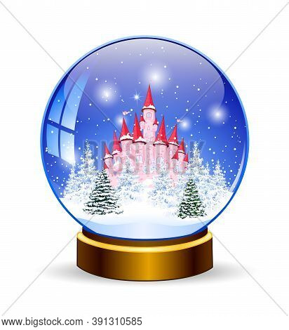 Snow Ball. Princess Castle On The Background Of A Winter Snowy Forest. Winter Landscape. Glass Ball