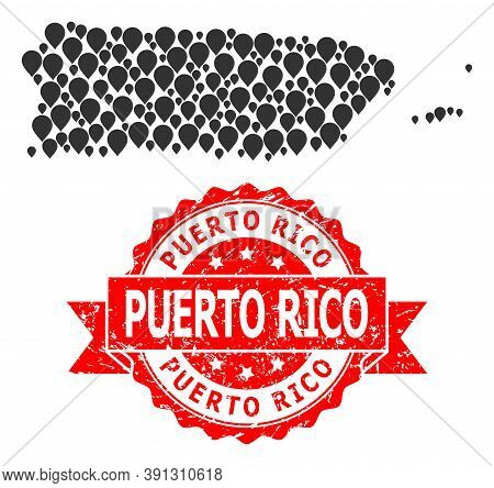 Marker Mosaic Map Of Puerto Rico And Scratched Ribbon Stamp. Red Stamp Seal Has Puerto Rico Title In