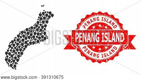 Pinpoint Mosaic Map Of Niihau Island And Scratched Ribbon Stamp. Red Stamp Seal Includes Penang Isla