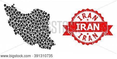Pin Mosaic Map Of Iran And Grunge Ribbon Seal. Red Stamp Seal Contains Iran Text Inside Ribbon. Abst
