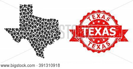 Pointer Collage Map Of Texas State And Grunge Ribbon Seal. Red Stamp Seal Contains Texas Caption Ins