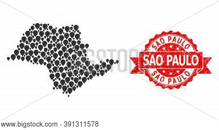 Marker Collage Map Of Sao Paulo State And Scratched Ribbon Seal. Red Stamp Seal Has Sao Paulo Title