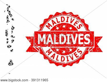 Marker Mosaic Map Of Maldives And Scratched Ribbon Seal. Red Stamp Seal Contains Maldives Caption In