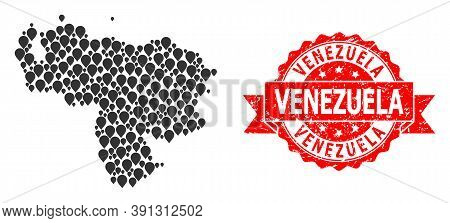 Pinpoint Mosaic Map Of Venezuela And Grunge Ribbon Seal. Red Stamp Seal Has Venezuela Title Inside R