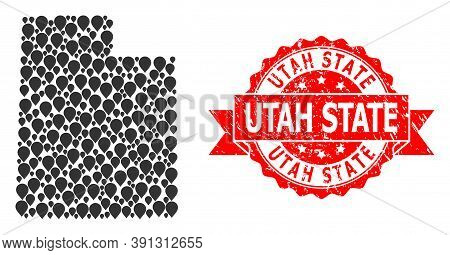 Pointer Collage Map Of Utah State And Scratched Ribbon Seal. Red Stamp Includes Utah State Caption I