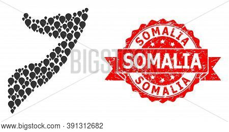 Target Mosaic Map Of Somalia And Grunge Ribbon Stamp. Red Stamp Contains Somalia Text Inside Ribbon.