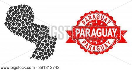 Mark Collage Map Of Paraguay And Grunge Ribbon Seal. Red Seal Includes Paraguay Caption Inside Ribbo